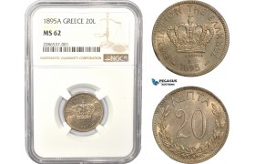 AD957, Greece, George I, 20 Lepta 1895-A, Paris, NGC MS62