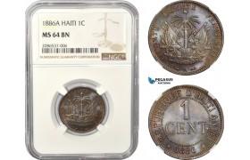 AD958, Haiti, 1 Centime 1886-A, Paris, NGC MS64BN