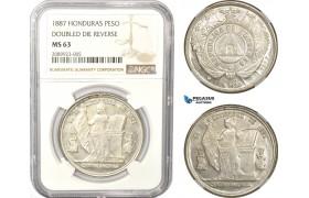 AD959, Honduras, 1 Peso 1887, Tegucicalpa, Silver, NGC MS63 DDR, Pop 1/0