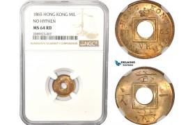 AD960, Hong Kong, Victoria, 1 Mil 1865, No Hyphen, NGC MS64RD