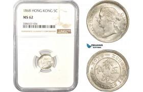 AD961, Hong Kong, Victoria, 5 Cents 1868, Silver, NGC MS62