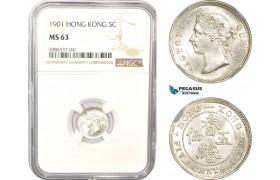 AD962, Hong Kong, Victoria, 5 Cents 1901, Silver, NGC MS63