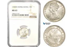 AD963, Hong Kong, Victoria, 10 Cents 1900-H, Heaton, Silver, NGC MS63