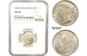 AD964, Hong Kong, Victoria, 20 Cents 1866, Silver, NGC AU58