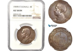 AD967, Italian Somaliland, Vitt. Emanuele III, 4 Bese 1909-R, Rome, NGC AU58BN