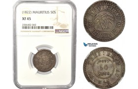 AD968, Mauritius, 50 Sous ND (1822) Silver, NGC XF45