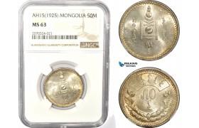 AD969, Mongolia, 50 Mongo AH15 (1925) Leningrad, Silver, NGC MS63