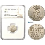 AD973, Norway, Christian VII, 2 Skilling 1802 IGM, Kongsberg, Silver, NGC MS63