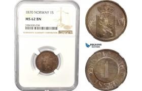 AD974, Norway, Carl XV, 1 Skilling 1870, Kongsberg, NGC MS62BN