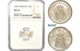 AD975, Norway, Oscar II, 10 Øre 1892, Kongsberg, Silver, NGC MS64