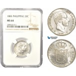 AD976, Philippines (Spanish Colony) Alfonso XII. of Spain, 20 Centimos 1885, Silver, NGC MS64