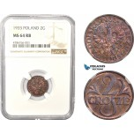 AD981, Poland, 2 Grosze 1933, Warsaw, NGC MS64RB