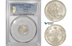 AD985, Russia, Alexander II, 10 Kopeks 1861 СПБ-ФБ, St. Petersburg, PCGS MS64