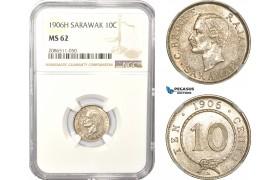 AD987, Sarawak, C. Brooke Rajah, 10 Cents 1906-H, Silver, NGC MS62, Pop 3/1