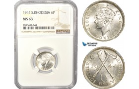 AD991, Southern Rhodesia, George VI, Sixpence (6P) 1944, Silver, NGC MS63, Pop 2/0