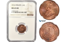 AD992, Straits Settlements, George V, 1/4 Cent 1916, NGC MS65RB