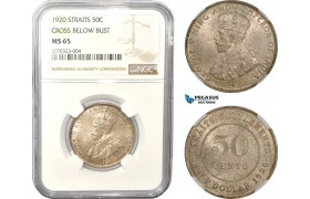 AD993, Straits Settlements, George V, 50 Cents 1920, Silver, Cross below bust,  NGC MS65