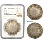 AD994, Sudan, Abdullah Ibn Mohammed, 20 Piastres AH1304/5, Khartoum, Billon, KM# 7.1, NGC XF40