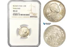 AD995, Thailand, Rama VI, 1/4 Baht BE2467 (1924) Silver, NGC MS64