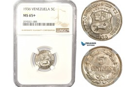 AD997, Venezuela, 5 Centimos 1936, NGC MS65+