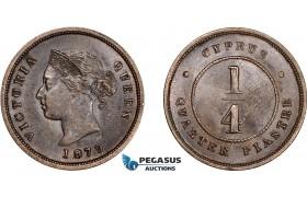 AE015, Cyprus, Victoria, 1/4 Piastre 1879, London, Brown AU