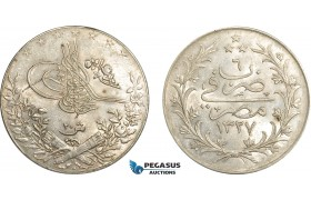 AE016, Ottoman Empire, Egypt, Mehmed Reshad V, 20 Piastres AH1327/6-H, Heaton, Silver, Lustrous AU-UNC (Lightly cleaned)