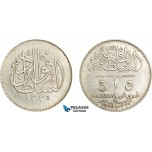AE017, Egypt, Occupation Coinage, 5 Piastres AH1338 /1920-H, Heaton, Silver, Cleaned AU