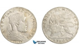 AE018, Ethiopia, Menelik II, 1 Birr EE1892 (1900) Paris, Silver, Cleaned VF