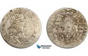 AE022, Germany, Prussia, Fr. Wilhelm, 1/3 Taler 1672 CV, Königsberg, Silver (8.58g) F-VF