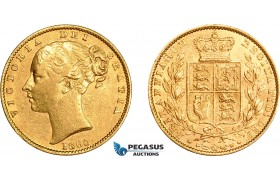 AE025, Great Britain, Victoria, 1 Sovereign 1860, London, Gold, XF-AU