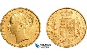 AE025, Great Britain, Victoria, 1 Sovereign 1860, London, Gold, XF-AU