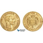 AE026, Greece, George I, 20 Drachmai 1876-A, Paris, Gold, Min. cleaning, XF-AU