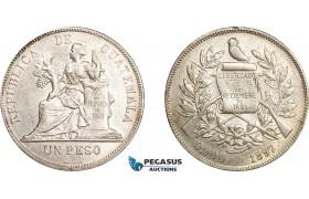 AE027, Guatemala, 1 Peso 1897, Silver, Cleaned AU