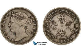 AE031, Hong Kong, Victoria, 20 Cents 1896, London, Silver, Toned VF