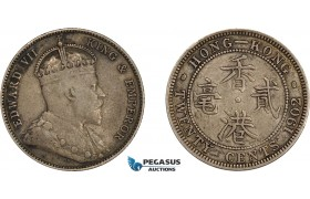 AE032, Hong Kong, Edward VII, 20 Cents 1902, London, Silver, Toned VF