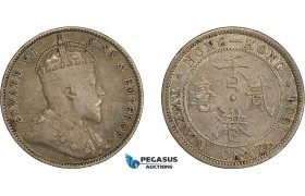 AE033, Hong Kong, Edward VII, 20 Cents 1904, London, Silver, Toned aVF