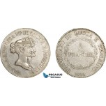 AE041, Italy, Lucca & Piombino, Felix & Elisa, 5 Franchi 1808, Silver, Min. cleaned VF-XF