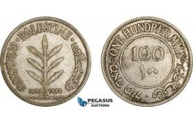AE050, Palestine, 100 Mils 1934, London, Silver, F-VF, Rare!