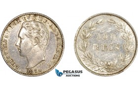 AE051, Portugal, Louis I, 100 Reis 1874, Lisbon, Silver, Cleaned XF