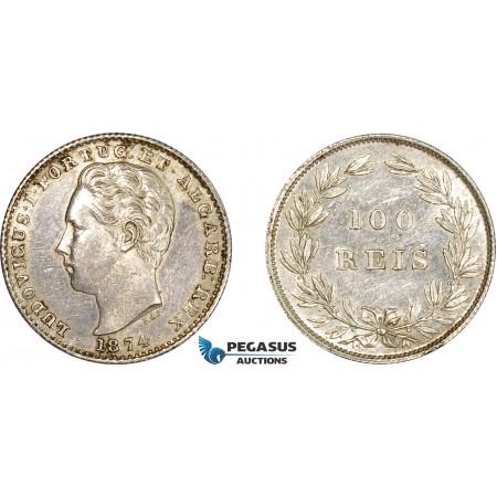 AE051, Portugal, Louis I, 100 Reis 1874, Lisbon, Silver, Cleaned XF