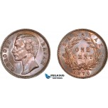AE057, Sarawak, C. Brooke Rajah, 1 Cent 1870, Cleaned AU-UNC
