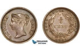 AE060, Straits Settlements, Victoria, 1/4 Cent 1845, Min. cleaned AU
