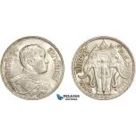 AE062, Thailand, Rama VI, Baht BE2460 (1917) Silver, Cleaned AU