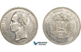 AE063, Venezuela, 5 Bolivares 1911, Paris, Silver, Cleaned XF