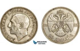 AE064, Yugoslavia, Alexander I, 50 Dinara 1932, Belgrade, Silver, VF-XF