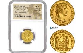 AE201, Roman Empire, Augustus (27 BC-14 AD) AV Aureus (7.80g) Struck 2 BC- 4 AD, Lugdunum, Shield, NGC AU
