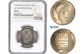 AE202, Algeria, Essai 100 Francs 1950, Paris, Copper-Nickel, Lec-54, NGC MS65, Pop 3/2
