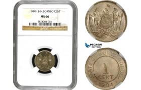 AE204, British North Borneo, 1 Cent 1904-H, Heaton, NGC MS66, Pop 1/0