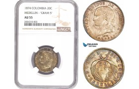 AE206, Colombia, 20 Centavos 1874, Medellin, Silver, NGC AU55, Pop 1/1