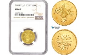 AE207, Ottoman Empire, Egypt, Abdulaziz, 100 Qirsh AH1277/7, Misr, Gold, NGC MS60